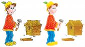 Isolated clipart illustration of a funny village carpenter that builds a starling-house (2 versions of the drawing with black and color contours) poster