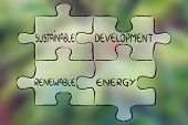 elements of the green economy as pieces of puzzle: sustainable development and renewable energy poster