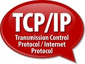 Speech bubble illustration of information technology acronym abbreviation term definition TCP/IP Transmission Control Protocol / Internet Protocol poster