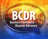 word speech bubble illustration of business acronym term BCDR Business Continuity Disaster Recovery poster