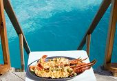 plate with lobster with kind on ocean poster