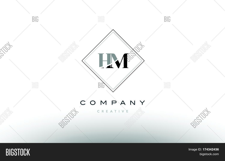 Hm H M Retro Vintage Black White Alphabet Letter Logo 33a39998d7710