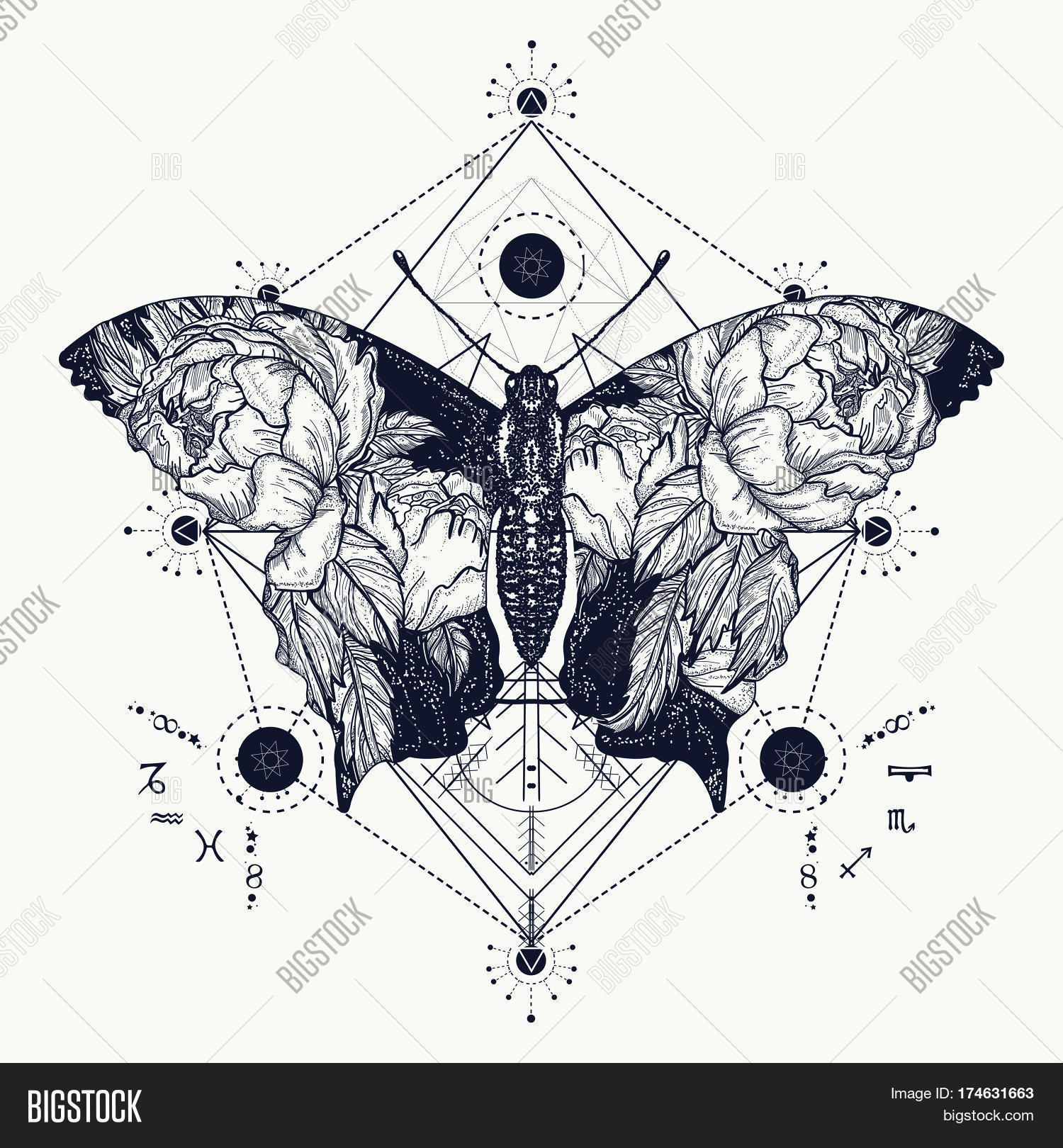 2f12cd2493b20 Butterfly tattoo in geometrical style. Beautiful butterfly boho t-shirt  design wings and roses
