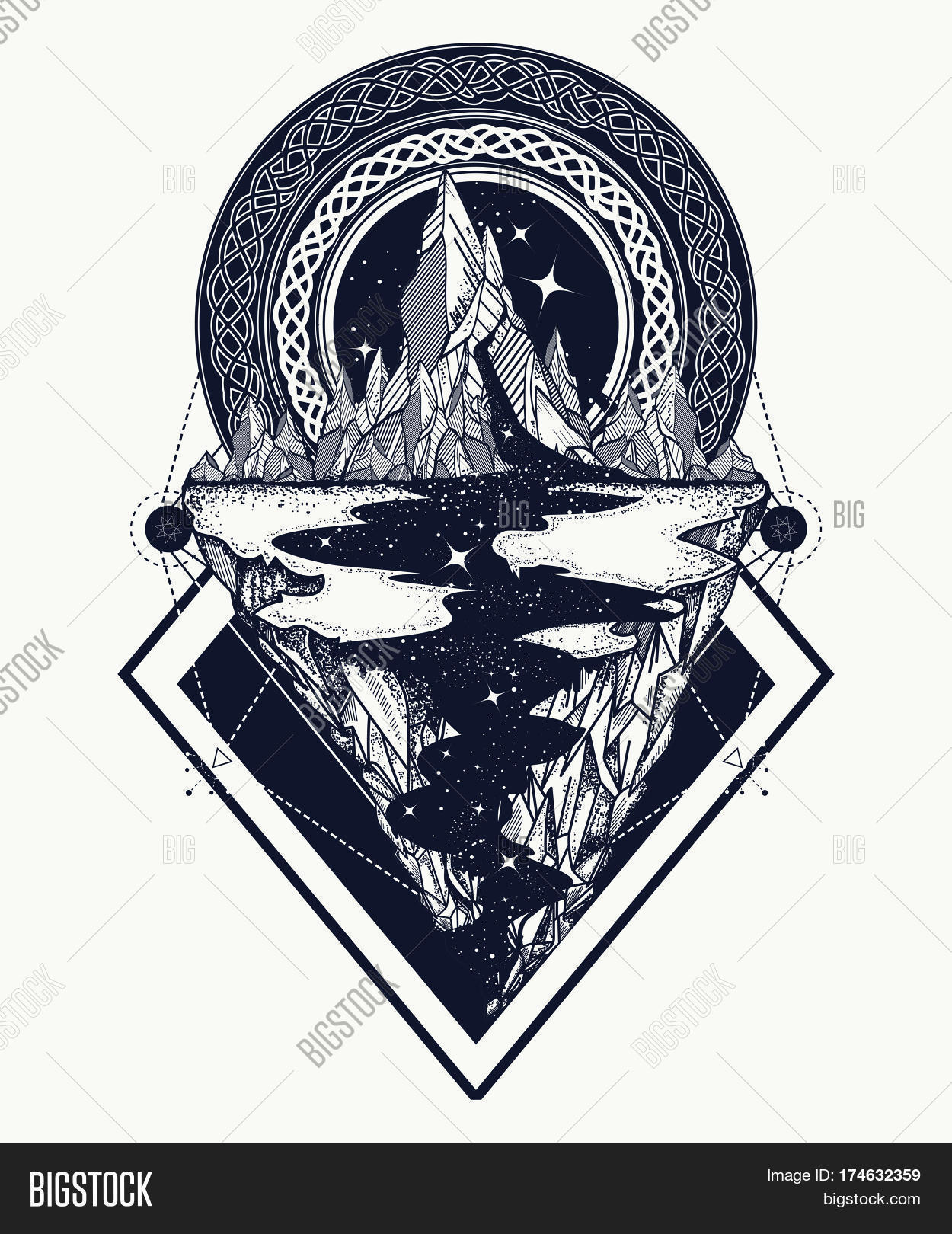 Mountains Tattoo Vector Photo Free Trial Bigstock