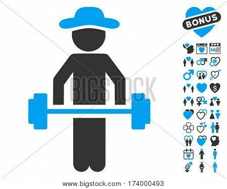 Gentleman Power Lifting pictograph with bonus decorative clip art. Vector illustration style is flat iconic blue and gray symbols on white background.
