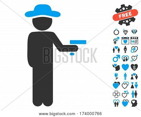 Gentleman Robber icon with bonus valentine pictograms. Vector illustration style is flat iconic blue and gray symbols on white background.