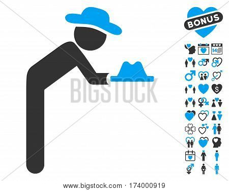 Gentleman Servant icon with bonus dating images. Vector illustration style is flat iconic blue and gray symbols on white background.