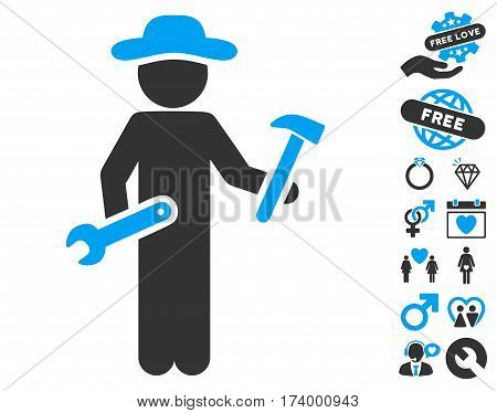 Gentleman Serviceman icon with bonus decoration pictures. Vector illustration style is flat iconic blue and gray symbols on white background.