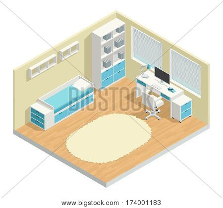 Kids room isometric composition with computer chair and lamp vector illustration