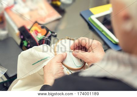 Woman Hands Doing Openwork Embroidery