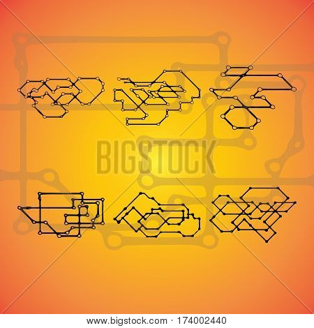 Set of six Mechanical schemes, vector engineering drawing with geometric parts mechanism. Futuristic industrial project can be used in web design and as wallpaper.