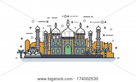 Stock vector illustration background icon linear style architecture buildings monuments town city country travel printed materials, cover, India, monuments, Taj Mahal, New Delhi, Culture, Mumbai