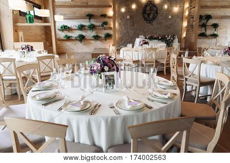 Luxury wedding reception stylish, white decoration expensive room