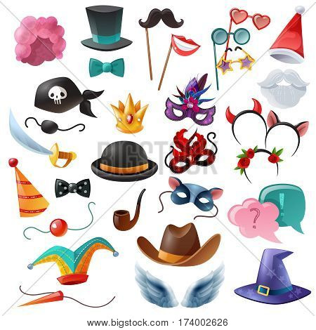 Collection of isolated cartoon icons with props for masquerade so as mask monocle bowler cylinder nose moustache vector illustration