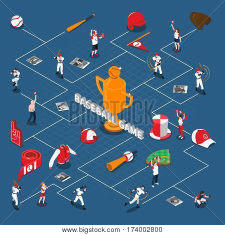 Baseball game isometric flowchart with players and fans with attributes sports equipment on blue background vector illustration