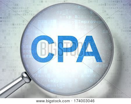 Business concept: magnifying optical glass with words CPA on digital background, 3D rendering