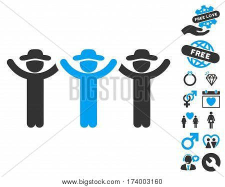 Gentlemen Hands Up Roundelay pictograph with bonus valentine pictures. Vector illustration style is flat iconic blue and gray symbols on white background.