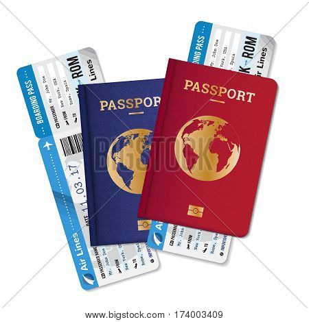 Two passports with boarding passes tickets realistic set  international air travel agency advertisement poster image vector illustration
