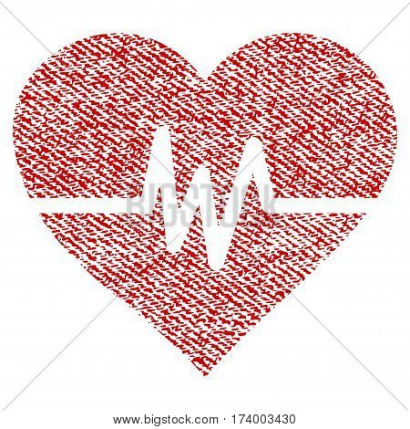 Heart Pulse vector textured icon for overlay watermark stamps. Red fabric vectorized texture. Symbol with dust design. Red ink rubber seal stamp with fiber textile structure.