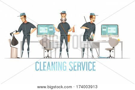Cleaning service design concept with male person in uniform doing removal of waste cleaning and disinfection of premises flat vector illustration