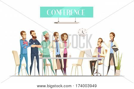 Medical conference with audience near table and lecturer with computer and assistant cartoon retro style vector illustration