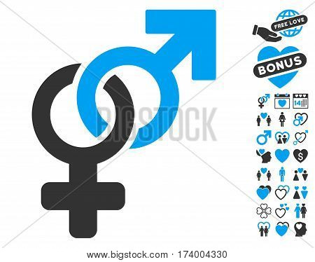 Heterosexual Symbol pictograph with bonus lovely design elements. Vector illustration style is flat iconic blue and gray symbols on white background.