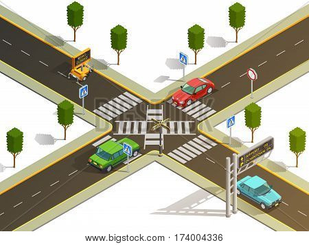 City suburb crossroads navigation isometric view with traffic boards pedestrian zebra crossing and cars vector illustration