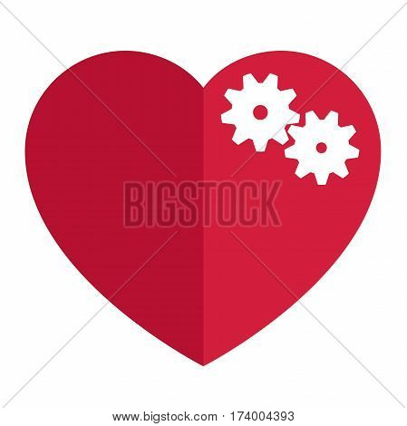 red heart with white gear inside.vector icon of a red mechanical heart medical concept.vector illustration of isolated layers on a white background