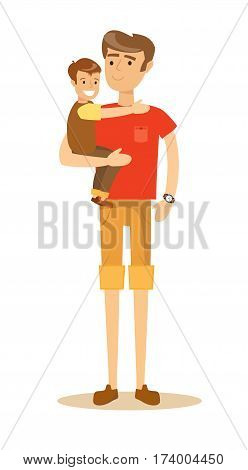 young handsome father holding his son in his arms and smiling. Cartoon character illustration of people. Isolated on white background. Stock vector illustration for poster, greeting card, website, ad.
