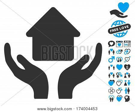 Home Care Hands icon with bonus valentine images. Vector illustration style is flat iconic blue and gray symbols on white background.