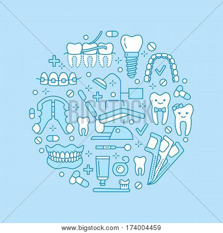 Dentist, orthodontics medical banner with vector line icon of dental care equipment, braces, tooth prosthesis, veneers, floss, caries treatment. Health care thin linear poster for dentistry clinic.