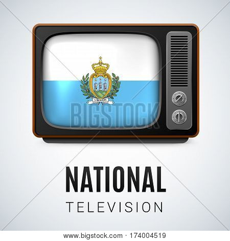 Vintage TV and Flag of San Marino as Symbol National Television. Tele Receiver with flag colors