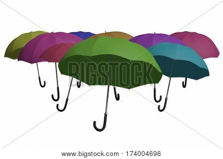 Multicoloured Umbrellas Background