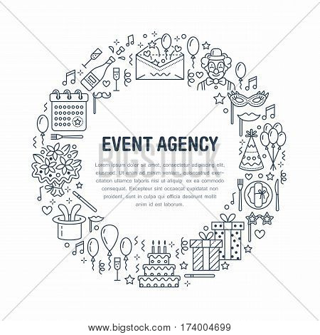 Event agency, birthday party banner with vector line icon of catering, birthday cake, balloon decoration, flower delivery, invitation card, clown. Thin linear sign of party organization service. poster