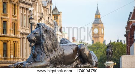 London, UK - 24 August, 2016:  Big Ben, houses of Parliament and lion of Trafalgar monument, Trafalgar square. London