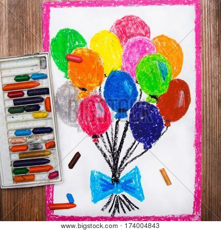 colorful drawings and crayons - colorful balloons