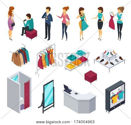 Colored and isolated trying shop isometric people icon set with accessories and elements of shop furniture clothing and visitors vector illustration