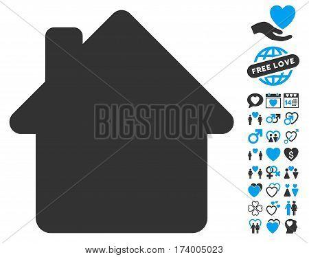 House icon with bonus dating symbols. Vector illustration style is flat iconic blue and gray symbols on white background.