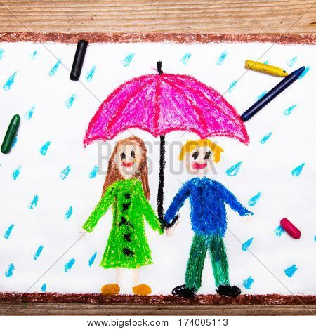 Colorful drawing - happy couple under pink umbrella rainy weather