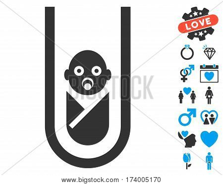 In Vitro Baby pictograph with bonus romantic symbols. Vector illustration style is flat iconic blue and gray symbols on white background.