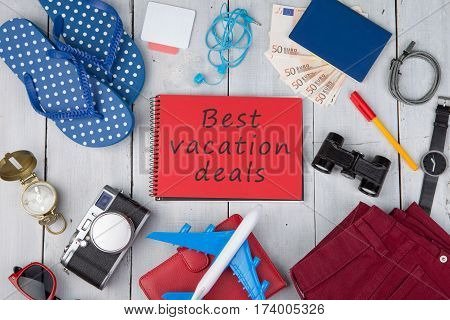 Plane, Passport, Money, Camera, Compass, Note Pad With Text