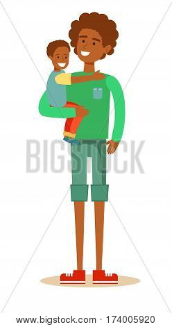 young handsome African American father holding son in his arms and smiling. Cartoon character illustration of people. Isolated on white background. Stock vector for poster, greeting card, website, ad.