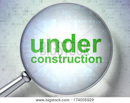 Web development concept: magnifying optical glass with words Under Construction on digital background, 3D rendering