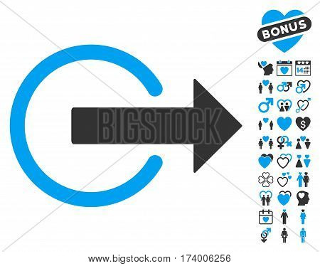 Logout icon with bonus passion design elements. Vector illustration style is flat iconic blue and gray symbols on white background.