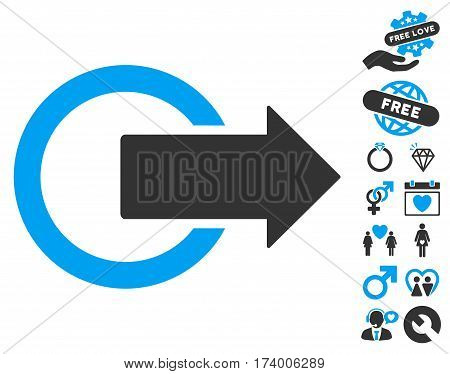 Logout pictograph with bonus marriage pictures. Vector illustration style is flat iconic blue and gray symbols on white background.