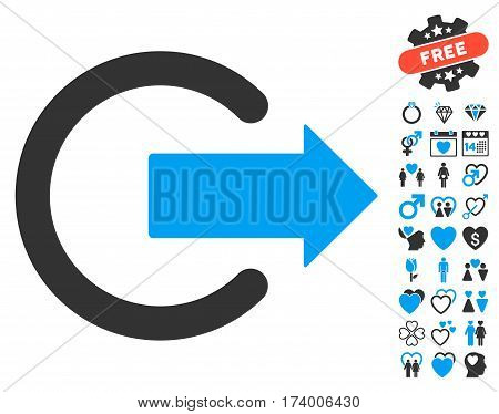 Logout icon with bonus marriage graphic icons. Vector illustration style is flat iconic blue and gray symbols on white background.