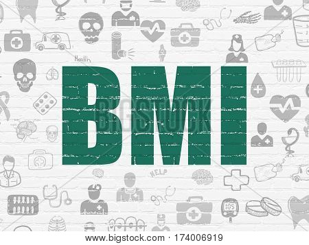 Healthcare concept: Painted green text BMI on White Brick wall background with  Hand Drawn Medicine Icons