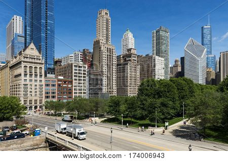 Chicago Illinois USA - July 1 2014: View of the downtown of the city of Chicago in the State of Illinois USA