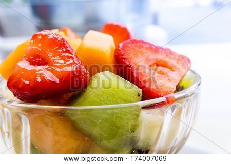 Delicious Fresh fruits salad ready to be eaten