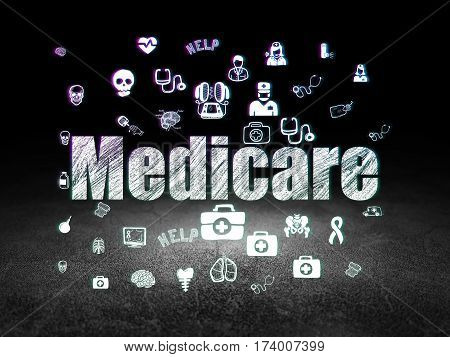 Medicine concept: Glowing text Medicare,  Hand Drawn Medicine Icons in grunge dark room with Dirty Floor, black background